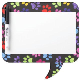 Multi-Colored Paws Dry-Erase Board