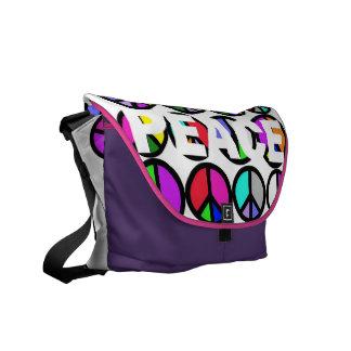Multi Colored Peace Symbol Courier Bags