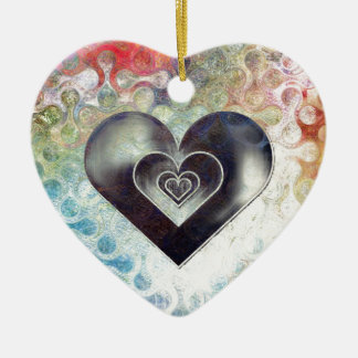Multi Colored Pencil Sketching Abstract Heart Ceramic Ornament