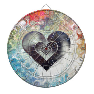 Multi Colored Pencil Sketching Abstract Heart Dartboard