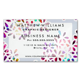 Multi-Colored Petal Flowers Business Card Magnet