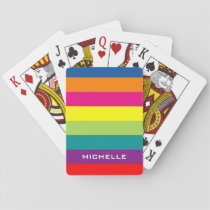 Multi colored playing cards with colorful stripes