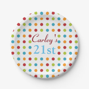 Multi-Colored Polka Dots Paper Plate  sc 1 st  Zazzle & Multi Color Polka Dots Plates | Zazzle