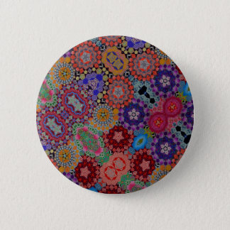Multi-colored Quilt Pattern Pinback Button