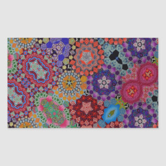 Multi-colored Quilt Pattern Rectangular Sticker