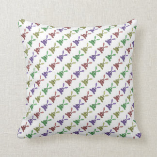 """""""Multi Colored Rabbits Design & Pattern"""" Throw Pillow"""