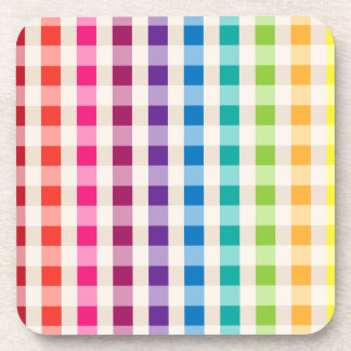 Multi-Colored Rainbow Candy gingham pattern Drink Coaster