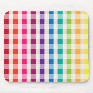 Multi-Colored Rainbow Candy gingham pattern Mouse Pad