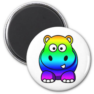 Multi Colored , Rainbow Hippo 2 Inch Round Magnet