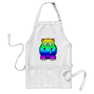 Multi Colored , Rainbow Hippo Adult Apron