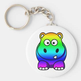 Multi Colored , Rainbow Hippo Basic Round Button Keychain