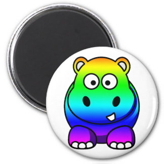 Multi Colored , Rainbow Hippo Fridge Magnet