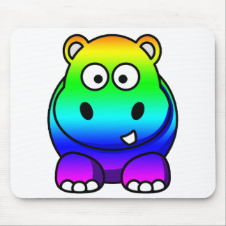 Multi Colored , Rainbow Hippo Mouse Pad