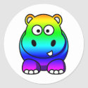 Multi Colored , Rainbow Hippo sticker