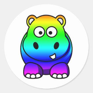 Multi Colored Rainbow Hippo Round Sticker