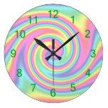 Multi-Colored Rainbow Twirl Clocks