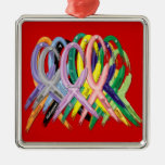 Multi-Colored Ribbons for Awareness Ornament