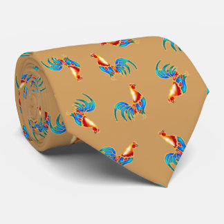 multi colored roosters on brown tie