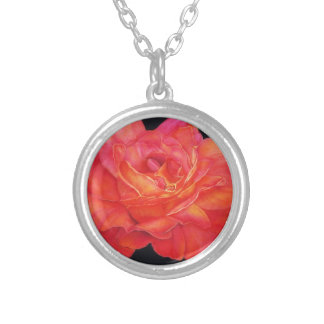 Multi-colored Rose Oils On Canvas-print Silver Plated Necklace