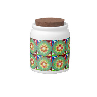 """""""Multi Colored Round and Square Pattern"""" Candy Jar"""