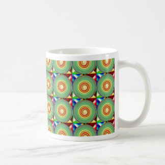 """""""Multi Colored Round and Square Pattern"""" Coffee Mug"""