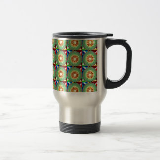 """""""Multi Colored Round and Square Pattern"""" Travel Mug"""