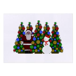 Multi Colored Santa Christmas Tree Tags Large Business Card