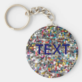 Multi Colored Sequin Customize Add Text Basic Round Button Keychain