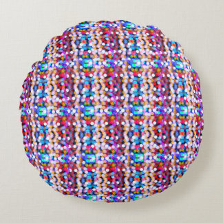 Multi-colored sparkling lights bokeh pattern round pillow
