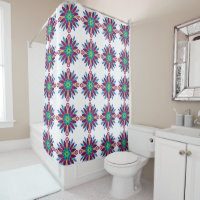 Multi-colored Spiral Designed With Blues Greens Shower Curtain