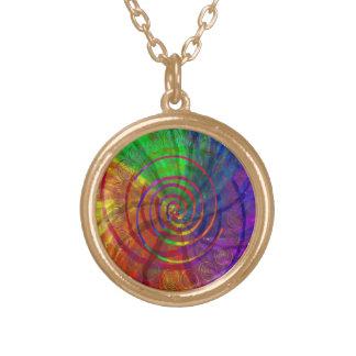 Multi-Colored Spirals Round Gold Pendant