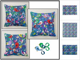 Multi-Colored Spring Birds Teal Designs Collection