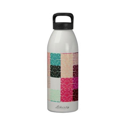 Multi Colored Square. Geometric Pattern Drinking Bottles