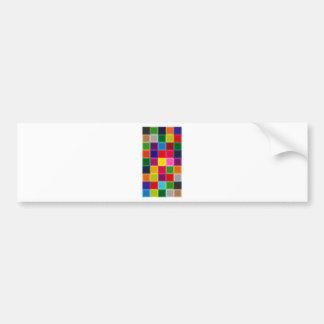 Multi Colored Squares and Stripes Girly Bumper Sticker