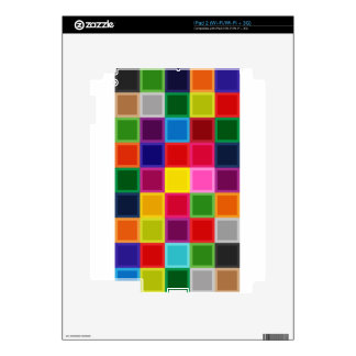 Multi Colored Squares and Stripes Girly Decal For iPad 2