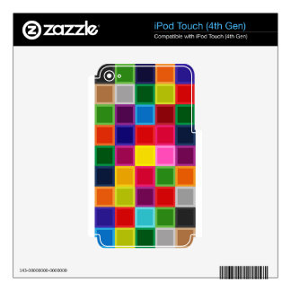 Multi Colored Squares and Stripes Girly iPod Touch 4G Decals