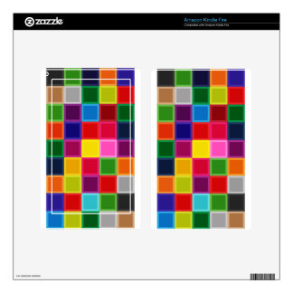 Multi Colored Squares and Stripes Girly Kindle Fire Decals