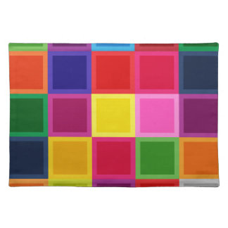 Multi Colored Squares and Stripes Girly Placemat