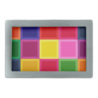 Multi Colored Squares and Stripes Girly Rectangular Belt Buckle