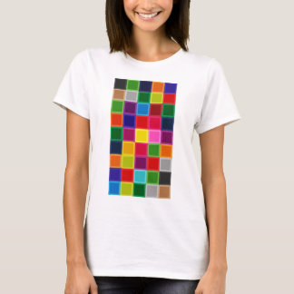 Multi Colored Squares and Stripes Girly T-Shirt