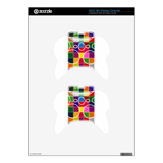 Multi Colored Squares and Stripes Girly Xbox 360 Controller Skin