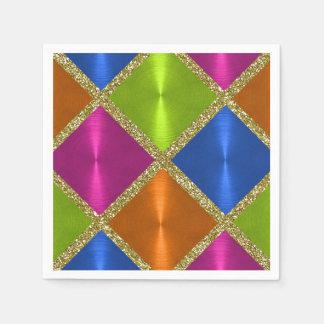 Multi Colored Squares with Gold Glitter Paper Napkin