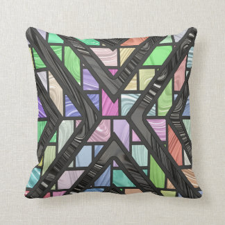 Multi-Colored Stained Glass Faux Effect Throw Pillow
