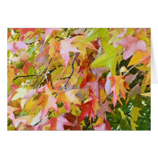 MULTI-COLORED STAR SHAPED FALL LEAVES CARD