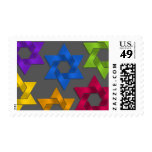 Multi Colored Stars of David on Field of Grey Postage
