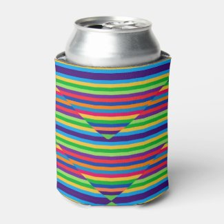 Multi-colored Striped Can Cooler