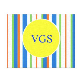 Multi Colored Striped Monogram Canvas Print
