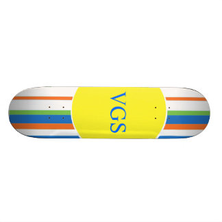 Multi Colored Striped Monogram Skateboard