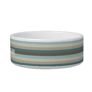 Multi-colored striped pet bowl. bowl