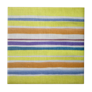 Multi-colored Stripes Ceramic Tile